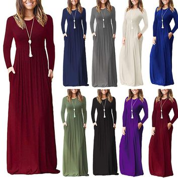 Womens Ladies Casual Long Sleeve Plain Pockets Party Long Kaftan Boho Maxi Dress