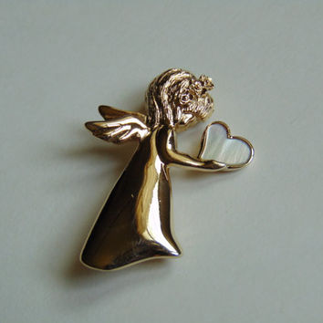 Vintage Angel holding white heart Pin, Brooch, Lapel