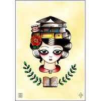 Librarian Book Lady Print