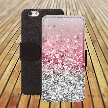 iphone 5 5s case sparkle pink and silver colorful iphone 4/ 4s iPhone 6 6 Plus iphone 5C Wallet Case,iPhone 5 Case,Cover,Cases colorful pattern L169