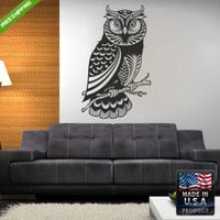 Wall Decal Mural Sticker Beautyfull Cute Detailed Owl Animals Bedroom (z113)