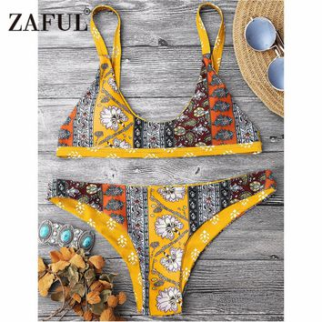 ZAFUL Bikini Patchwork Print Scoop Neck Bikini Set Swimsuit Women's Swimming Suit Low Waist Floral Scoop Neck Swimwear Biquni