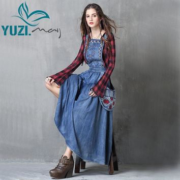 Women Dress 2018 Yuzi.may Boho New Denim Vestidos Flower Embroidery A-Line Back Zipper Swing Hem Overall Maxi Dresses A82038