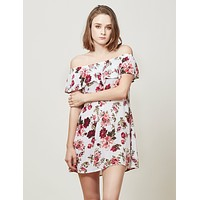 Flowy Floral Print Ruffle Off Shoulder Dress (CLEARANCE) (CLEARANCE)
