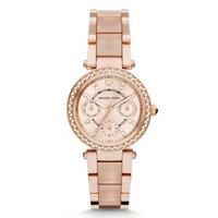 Mini Parker Rose Gold-Tone and Blush Acetate Watch | Michael Kors