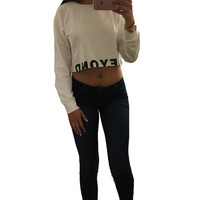 2016 New Women Fashion Casual Loose Letter Print Crop Hoodies Long Sleeve Crop Top Autumn White Black Sweatshirt Pullovers S-L