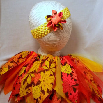 Fall Autumn Leaves Tutu and Headband - 2 to 3 Years Tutu - Scrappy Tutu - Girls Costume - Shabby Chic Tutu - Red Orange Yellow Brown Tutu