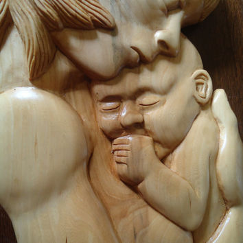 Mother and Child sculpture - Hand carved Maple wood sculpture - Hanging wood wall art -
