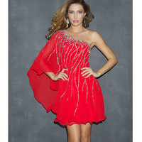 Red Sequin & Chiffon One Shoulder Prom Dress - Unique Vintage - Prom dresses, retro dresses, retro swimsuits.