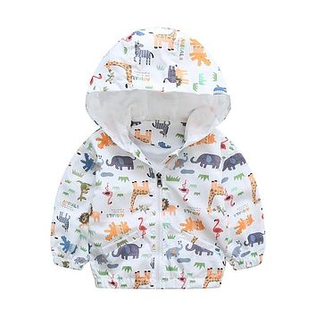 Animal Baby Girls Jacket Active Hooded Coats Boys Kids Children Clothing Animal Printing Outerwear Jacket Windbreaker