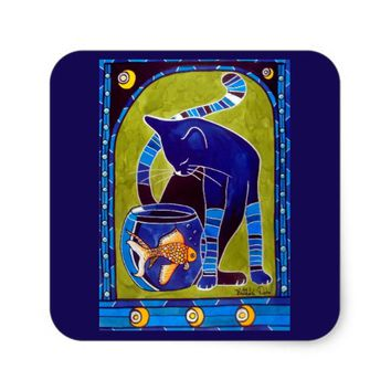 Blue Cat With Goldfish Whimsical Cat Art Square Sticker