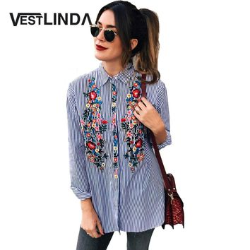 VESTLINDA Women Blouses  Casual Floral Embroidery Shirt Long Sleeve Turn Down Collar Tops Striped Blusas Femme Loose Blouse