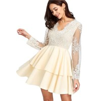 Party Dresses   Long Sleeve Embroidery Contrast Mesh Bodice Tiered Hem Dress