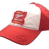 Retro Style Miller High Life Beer Red & White Baseball Hat Cap (Medium/Large)