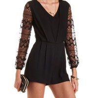 Lace & Chiffon Long Sleeve Romper by Charlotte Russe