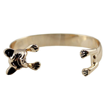 Open-ended Bangle with Dog Design