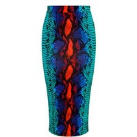 Snakeskin-print jersey pencil skirt