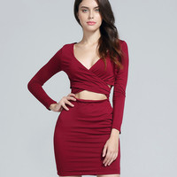 V-neck Long Sleeve Wrap Front Cutout Mini Dress