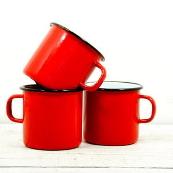 Camping Mugs Red Metal Enamel - Set Of Three