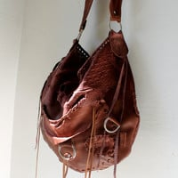 Oxblood brown leather raw distressed bag croc leather boho tote slouchy purse hobo large  tribal african hunter hide festival gypsy bohemian