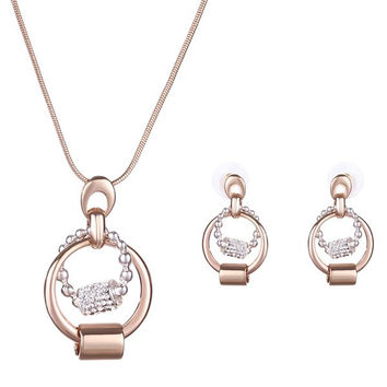 Gold Rhinestone Alloy Ring Pendant Necklace and Earrings