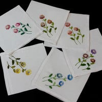 Floral Embroidered Napkins, Six White Linen Hemstitiched Napkins, Asters, Hand Embroidered, Blue Pink Yellow Purple Rust, Vintage Linens