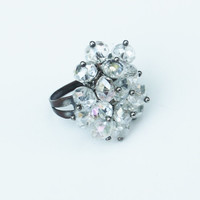 Vintage Crystal Cluster Ring with Adjustable Silver Band