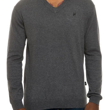 The Solid V-Neck Pullover Sweater Knit in Charcoal