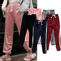 Women's new lace-up side stripes sport pants velvet trousers