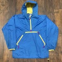 Sierra Designs × Vintage Vintage 1990s 90s Sierra Design Blue Anorak Jacket Yellow Accents Mens Size Small Size S $65