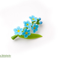 """Brooch """"Forget-me-not"""" - Polymer Clay Flowers"""
