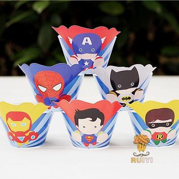 Batman Dark Knight gift Christmas 24pcs Superhero Cupcake Wrapper Toppers Kids Birthday Party Deco Supplies Avengers Superman Batman Spiderman Cupcake cases liner AT_71_6