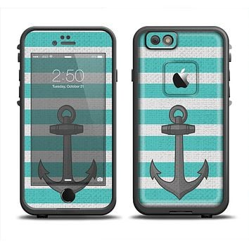 The Trendy Grunge Green Striped With Anchor Skin Set for the Apple iPhone 6 LifeProof Fre Case