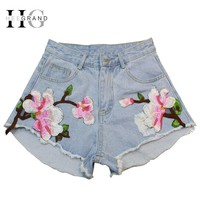 HEE GRAND 2017 Summer Floral Embroidery Denim Shorts Women Light Blue Flower Embroidered Casual Jeans Fashion Short Pants WKD542