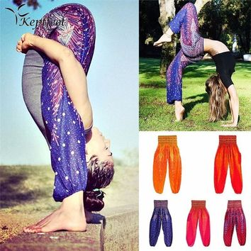 Sports Yoga Pants Women Digital Print Lanterns Pants Loose National Wind Thai Yoga Trousers Elastic Waist with Pocket One Size