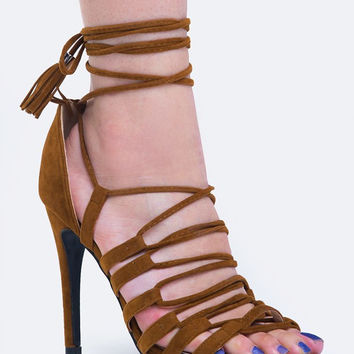 STRAPPY ANKLE TIE SANDAL