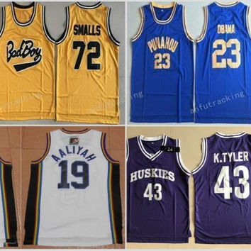 2017 Bad Boy Notorious Big 72 Biggie Smalls Jersey Punahou 23 Barack Obama Basketball Jerseys Marlon Wayans 43 Kenny Tyler Bricklayers