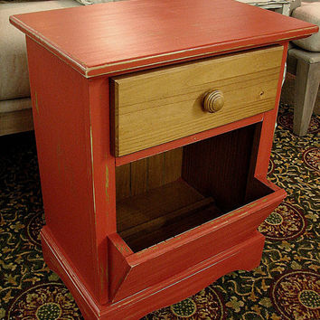 Red Paint Country Farm Distressed 1 Dr Accent Table Nightstand w Book Rack
