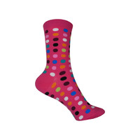 Classic Large Dot Crew Socks in Hot Pink