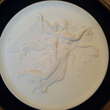 """Antique Bisque Raised Relief Plaque of """"Day Angel"""" Neo-Classical Sculpture by Bertel Thorvaldsen With Gold Tone Octagon Frame"""