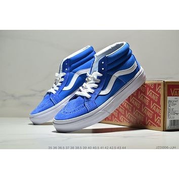 VANS Old Skool Fashionable Casual High Tops Canvas Flat Sneakers Sport Shoes Blue