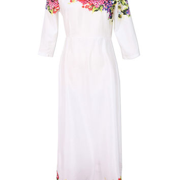 White Floral Half Sleeve High Waist Maxi Dress