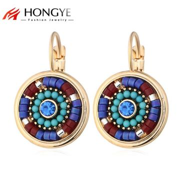 Hot Selling Bohemia Jewelry Multicolor Resin Beads Crystal Rhinestone Clip Earrings Round Cuffs on Ear Brincos Women Friend Gift