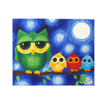Whimsical Owl Art, COLORFUL OWL FAMILY No. 2, 8x10 original acrylic painting, art for kids