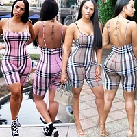 Burberry New fashion plaid straps romper women