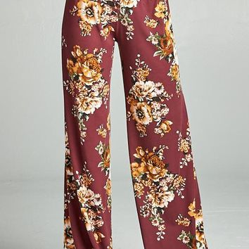 Fall Floral Palazzo Pants - Wine