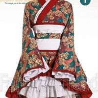 Wa Lolita: Grow Up in Spring,6pcs Kimono Outfit*2color