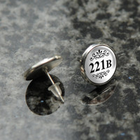BBC Sherlock white 221B silver tone earrings