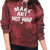 Obey Make Art Not War Block Font Burgundy Tie Dye Hoodie
