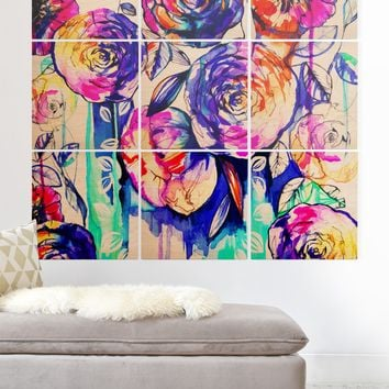 Holly Sharpe Sunrise Flowers Wood Wall Mural